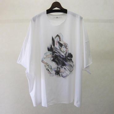 BALMUNG プリントビッグTシャツ 半袖(白・衝突)