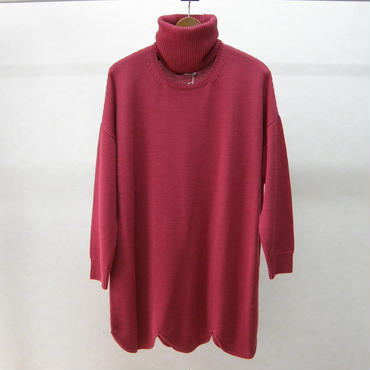 YEAH RIGHT!! RIPPLE WAVE HEM KNIT P/O w/NECK PARTS(ROSE)