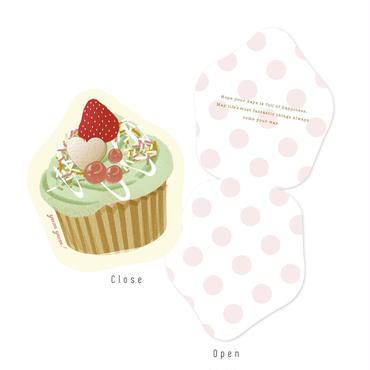メッセージカード SWEETS BOX ピンク/カップケーキ