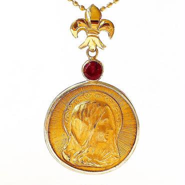 Jesus&Maryメダル&ダイヤモンド&レッドトルマリン シルバー&18Kゴールドペンダントトップ(PMD1001)
