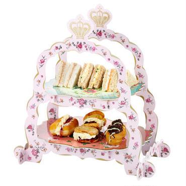 「トーキングテーブル」2段ケーキスタンド 王冠トップ
