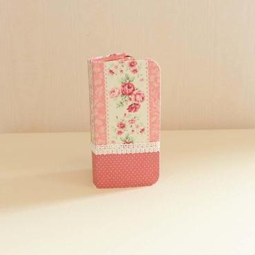 ハンドメイド iphoneケース FL-008×濃ピンクドット