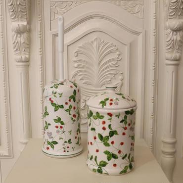 ロイヤルアーデン イチゴ柄 陶器のトイレポット&トイレブラシ