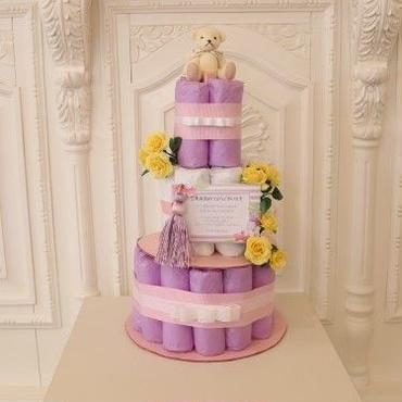 ダイパーケーキ  お洒落なタッセル付き パープル&イエロー