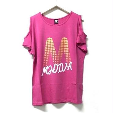 (MJ DIVA) ラメドットMロゴ肩開きドルマンTEE ピンク