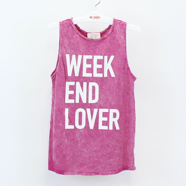 (FANTASTIC FAWN)WEEK END LOVERS ロゴプリント タンクトップ PINK