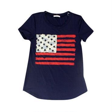 (12PM  BY  MON  AMI)  デニムファブリックアメリカンフラッグプリントTシャツトップ ネイビー