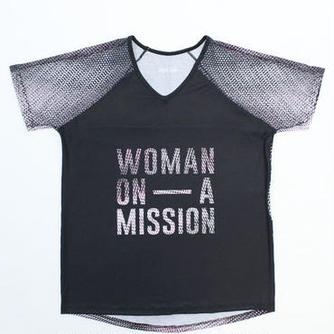 (ROLA MOCA) メッシュスリーブ ロゴ Tシャツ BLACK/PINK  Mサイズ