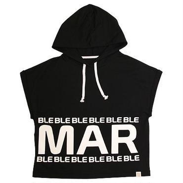 (Marble)  フード付きドルマンT ブラック