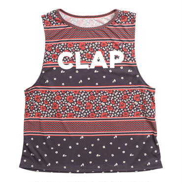 (CLAP)  FLOWER CHECK  BOX TANK ネイビー