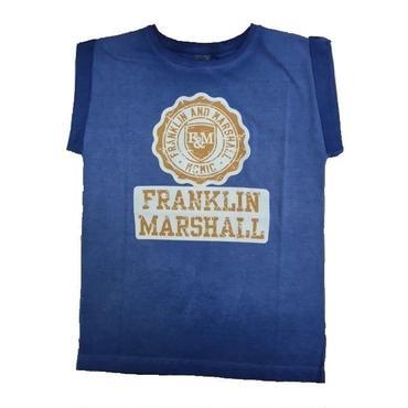 (FRANKLIN&MARSHALL)  エンブレム袖ロールアップトップ ブルー