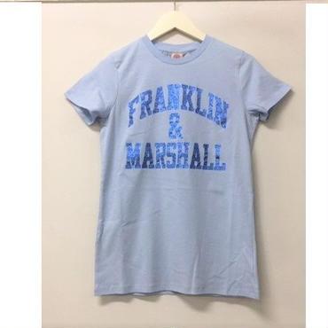 (FRANKLIN&MARSHALL)  クラッシックフィットラメロゴTシャツ パステルブルー