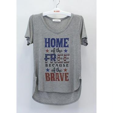 (MY  LAND)   NECK HOME OF THE FREE VネックTシャツ  GRAY