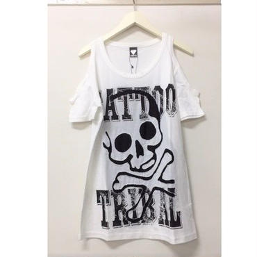 (MJ DIVA) 肩あきスカル抜き加工Tシャツ WHY