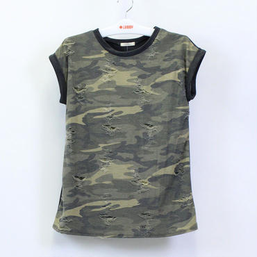 (12PM BY MON AMI)  トップス Tシャツ カモ柄 ブラック   CAMO/BLACK