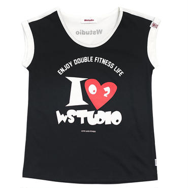 (Wstudio)  I  LOVE  WST  BACK  Tee ブラック