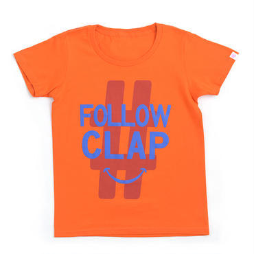 (CLAP)  FOLLOW  CLAP  Tee オレンジ