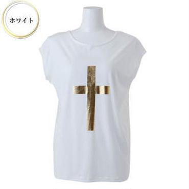 (BENESTA)  gold cross back ribbon Tee ホワイト