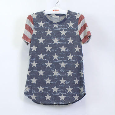 (12PM BY MON AMI)  アメリカンフラッグ Tシャツ   NAVY