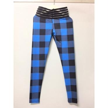 (MJ DIVA)Plaid Printing Scrunchストレッチレギンス BLU