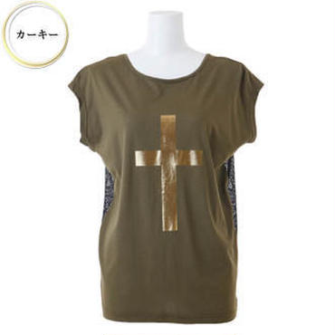 (BENESTA)  gold cross back ribbon Tee カーキ