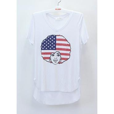 (MY  LAND)  AFRO AMERICAN FLAG VネックTシャツ  WHITE