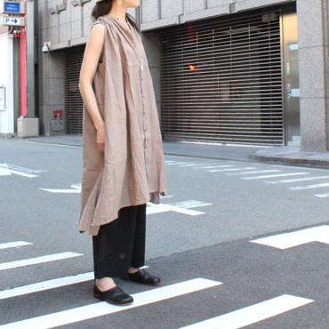 UT181SH039 リネン ギャザーシャツドレス