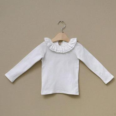 フリル襟ロングTシャツ ホワイト