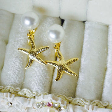 Starfish×Pearl イヤリング #25