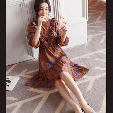 花柄シフォンワンピース 袖・胸元Vラインフリル 2色