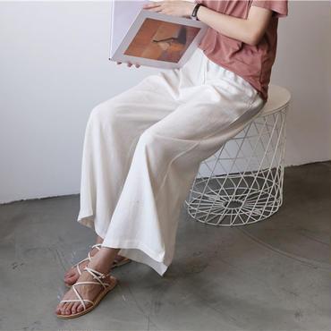 夏秋リネン/麻リラックス アンクルワイドパンツ 3色93