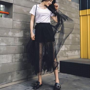 【在庫あり】シースルードット柄sexyシフォンマキシ丈スカート