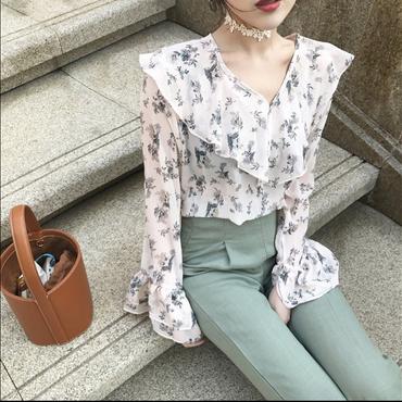 【在庫あり】春ナチュラル花柄シフォンV襟フリル袖ブラウス 93