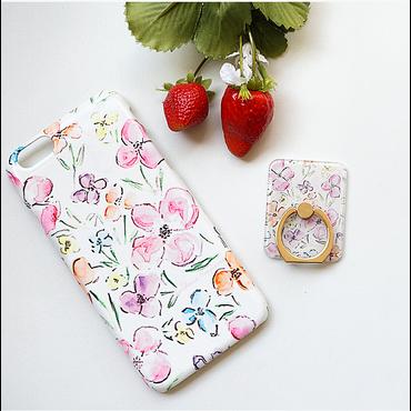 水彩画の花柄スマホケースAICA-20 iPhone5/5s/5c/6/6s/SE/Android