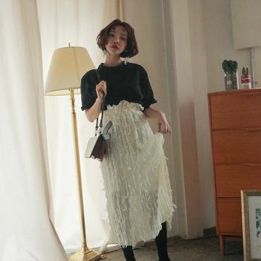 MY ハイウエストフリンジフェザーマキシ丈スカート 2色 93