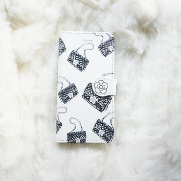 手帳型スマホケース AICA-95 カメリアマトラッセバッグ柄(ホワイト)大きいサイズiPhone/Android L