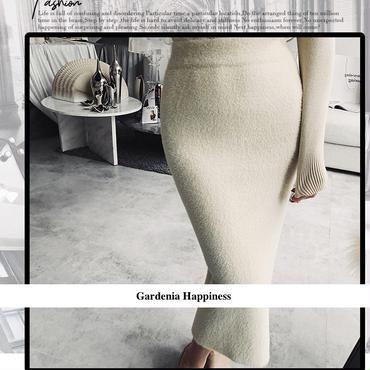 【在庫あり】EC モヘア風ふわふわタイトミモレ丈スカート 3色