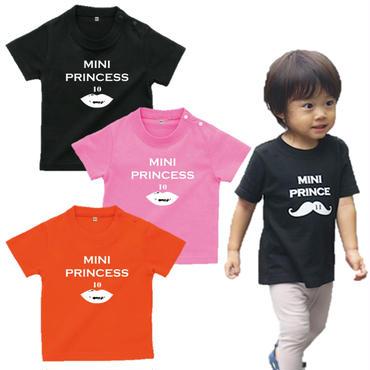 MINI PRINCESS 女の子ベビーTシャツ(Rips)文字ホワイト