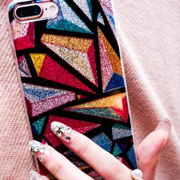 【在庫あり】レインボーキラキラシャイニーアート iphoneケース ストラップ付き