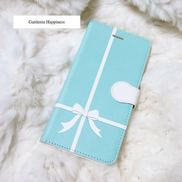 【NEW】手帳型スマホケース エレガントブルー クロスリボン 大サイズiPhonePlus/AndroidL