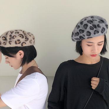 レオパード/ヒョウ柄ニットベレー帽 2色 93
