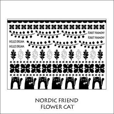 【単品】NORDIC FRIEND転写紙★フラワー&キャット★ブラック