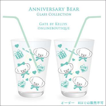 【ガラス用★単品】Anniversary Bearファニーフェイスパターン ホイップミント