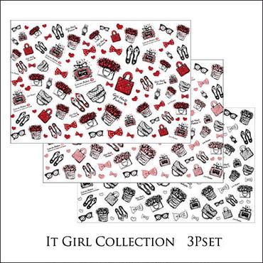【定価¥5050】【3枚セット】【セット割引】It Girl Collection転写紙/3色1枚ずつセット★レッド&ピンク&MONO