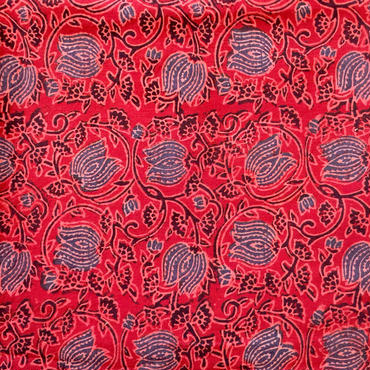 木版更紗#025(アジュラック、蓮、赤)