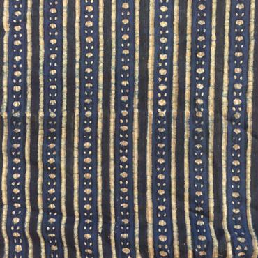木版更紗#017(藍地、マリーゴールド柄)