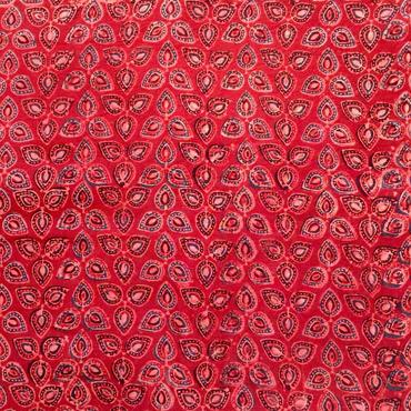 木版更紗#019(アジュラック、菱形、赤)