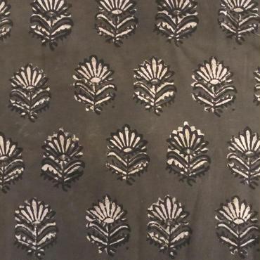 木版更紗#012(グレー地、花)