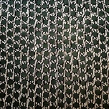 木版更紗#006(緑地、白かご網)
