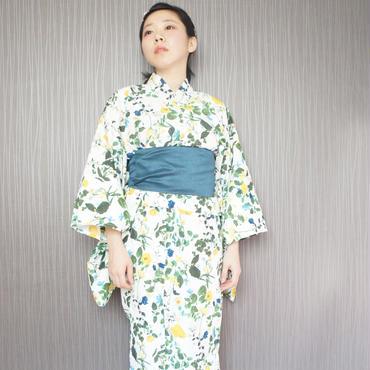 10秒で着られる着物 & オリジナル簡単帯 2点セット / フローラルドレス/ホワイト
